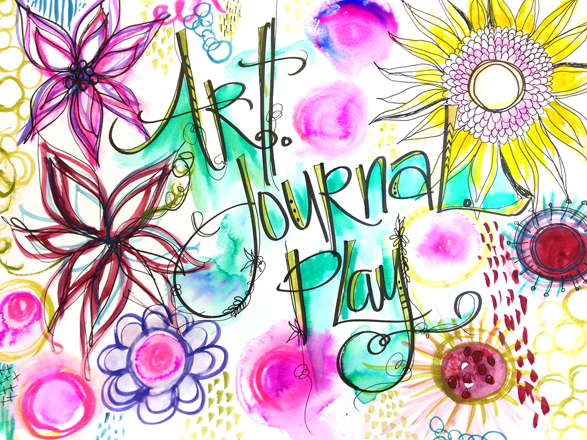 art journal PLAY hand lettered by traci bautista