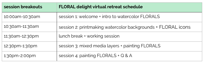 FLORAL delight virtual retreat JUNE2017 schedule
