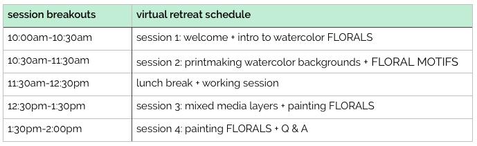 WATERCOLOR FLORALS virtual retreat schedule by TraciBautista