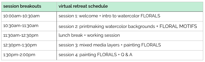 WATERCOLOR FLORALS virtual retreat schedule by TraciBautista
